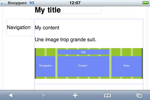Grid page rendering on an iPhone with landscape orientation