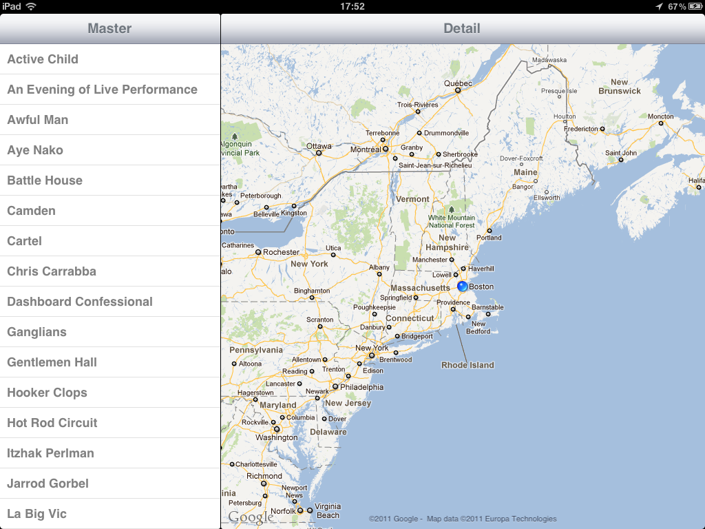 Screenshot of the geolocation feature
